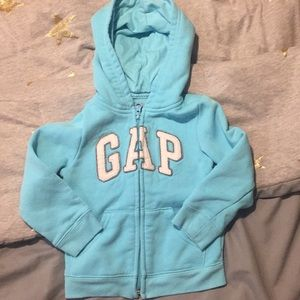 Baby GAP bright sky blue zip front hoodie like new